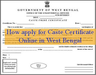 How apply for Caste Certificate Online in West Bengal with SC/ST/OBC